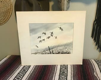 """David Hagerbaumer Original Water Color """"over the decoys"""" (pintails)"""