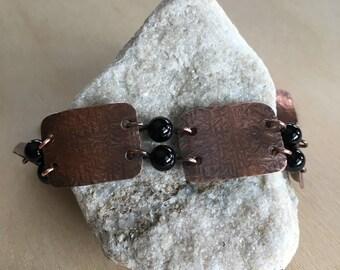 Women's link Bracelet - Onyx - cuff link - Handmade Copper Metal Artisan Jewelry