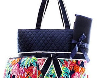 Quilted Zebra Flower 3pc Diaper Bag Set WITH FREE MONOGRAM