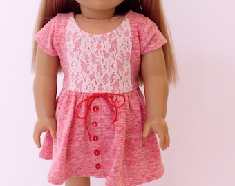 18 inch girl doll clothes - Red knit western vibe dress