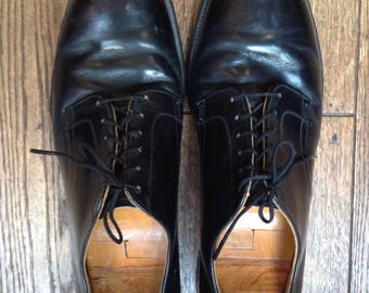 Vintage black leather lace up dress shoes USN us navy military US 11.5 UK 10.5