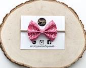 Pink glitter baby bow headband | baby bows | baby headbands | toddler | clip sets | glitter baby bows | nylon headband | Easter | spring