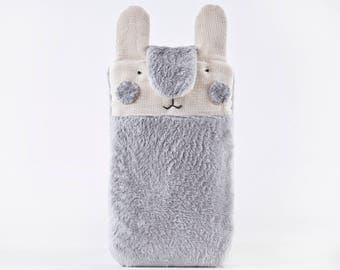 Gray Bunny iPhone 7 plus case, Fluffy Samsung Galaxy S8 case, iPhone 7 Plus sleeve, Cute iPhone 6 Plus sleeve, Gift for Her