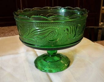 Vintage Emerald Green Brody Glass Vase or Compote