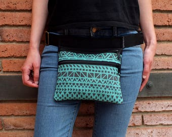 Fabric fanny pack, two pockets bag, women waist bag, travel pouch
