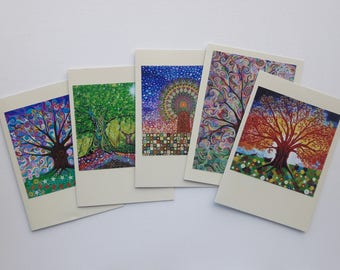 Tree of Life Art Nouveau Pagan Psychedelic Greeting Cards Birthday Cards Colorful Folk and Mindfulness Art All Occasions Pack of 5