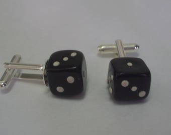 Polymer clay dice CUFFLINKS