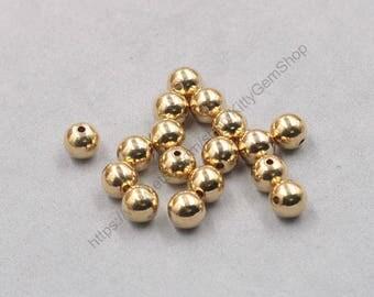 50 Pcs Raw Brass Round Ball Beads , 8mm , hole size 1.5mm , YHA-307-J032108