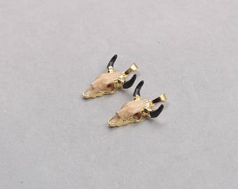 Small Bull Skull Pendants -- Faux Cattle Head Pendant With Gold Plated Longhorn Cattle Western Boho CQA-086