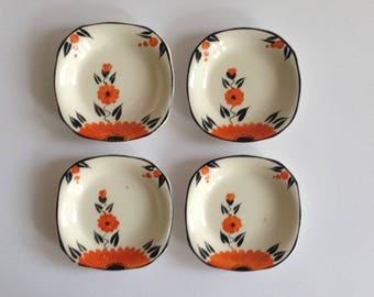 A set of 4 Handpainted Soho Pottery Solian Ware Petit Fours Dishes