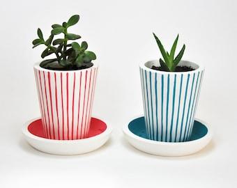 White Concrete Planter | Succulent Pot | Concrete Planter | Modern Planter | Concrete Flowerpot | Cactus Flowerpot