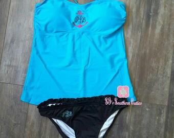 Monogram Aqua Tankini, Women Tankini, Birthday Gift, Swimsuit Top