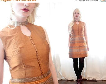20% OFF SALE Vintage 60s golden bronze copper Silk silver turmeric high neck keyhole button front sleeveless mini dress oriental Asian ethni