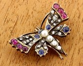 Cute Victorian Pearl Sapphire and Diamond Butterfly Brooch Gold and Silver