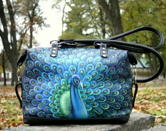 Painted Leather bag leather Hand-painted peacock bag painted purse black bag  personalized leather bag individual painting
