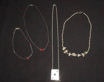 Vintage Hippie Jewelry Necklace 2 Anklet Coral Beads Silver Tone