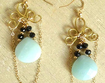 Earrings 14 k - green turquoise stones and black crystal