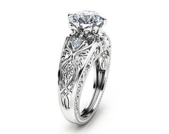 14K White Gold Engagement Ring Unique Design 2 Carat Moissanite Ring Art Deco Styled White Gold Ring
