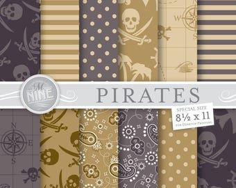PIRATES Digital Paper / PIRATE Party Printables / Vintage 8 1/2 x 11 Pirate Patterns, Pirates Theme, Pirates of the Caribbean, DIY Scrapbook