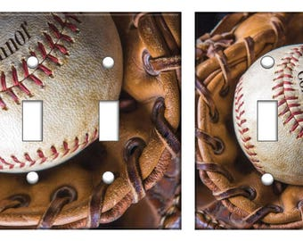 Baseball Light Switch Plate Cover Glove Mitt Personalized Boys Sports