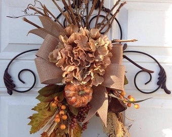 RUSTIC FALL SWAG~ Fall Door Wreath ~ Fall Wreath ~ Rustic Fall Door Decor~ Fall Season Door Swag~ Seasonal Fall Decor~ FarmHouse Door Decor~