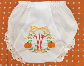 Monogrammed Bloomers Pumpkin Wreath,monogrammed diaper cover, personalized baby gift, Halloween bloomers
