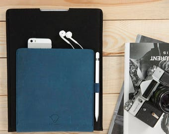 iPad Pro 10,5 and 9,7 and 12,9 inch case sleeve cover with apple pencil holder 100% natural wool felt genuine leather Handcrafted Lithuania