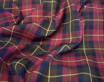 "Burgundy (Boyd) - Tartan Fabric - PolyViscose - Metre/Half - 59"" (150cm) wide"