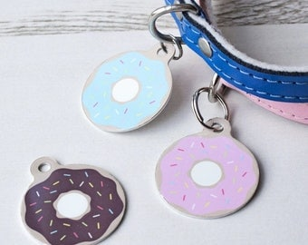 ON SALE Donut Pet Id Tag – personalised dog doughnut name tag – fun dog identification tag – gifts for dogs – personalized dog ID tag - P26