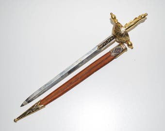 Sword Letter Opener with Leather Sheath Toledo Spain