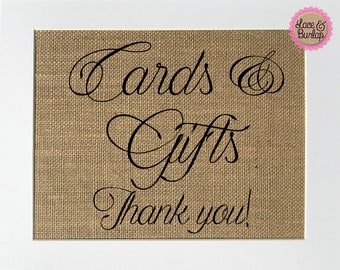 UNFRAMED Cards & Gifts Thank You / Burlap Print Sign 5x7 8x10 / Rustic Vintage Wedding Engagement Gift Shower Birthday Party Gifts Sign