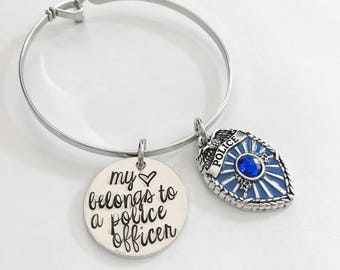 Police badge jewelry - Hand stamped bracelet - Badge jewelry - Police bracelet - Police officer jewelry - Blue lives matter - Police wife