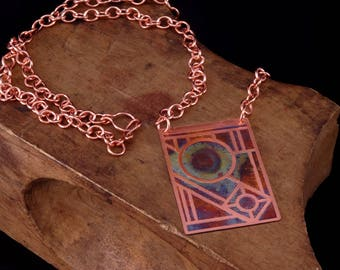 Stained Glass Copper Pendant Necklace, Copper Necklace, Heat Patina, Fire Painted Pendant, Boho Chic, Bohemian Necklace, Handmade Jewelry