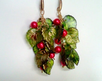 Fun Holiday Jewelry, Christmas Earrings, Red Berries and Green Leaves,  Red and Green, Hand Painted Earrings, Lightweight Holiday Earrings