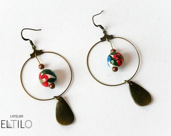 Brass buckles and Pearl floral earring / / Bohemian style earrings / / hand made original design
