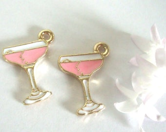 Pink Champagne Glass Charms,Set 2