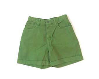 Vintage Green Denim High Waist Shorts