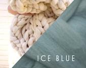 "Ice Blue Super Chunky Knit Merino Blanket, 40"" x 58"", Chunky Wool Blanket, Giant Knitting, Giant Super Bulky Knit Blanket, Extreme Knitting"