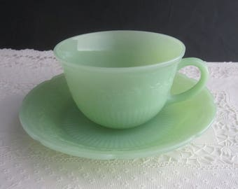 Fire King Alice Pattern Jadeite Cup and Saucer Set 1940's Vintage - Anchor Hocking Glass