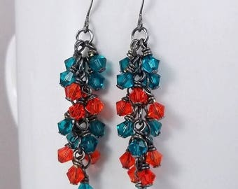 ON SALE Miami Dolphins • Miami Inspired Crystal Cluster Earrings • Dangle Earrings
