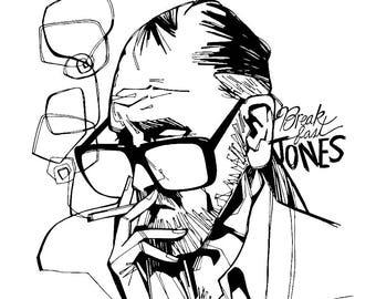 George Romero Illustration, Zombie Fan Art, 8.5 x 11 print, Gift for Zombie Fan