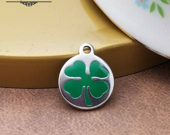 Four Leaf Clover Charms, qty 2pc, Stainless Steel, Shamrock charms, Saint Patricks Day Charms, Luck of the Irish, Accent Charm, CT4LC