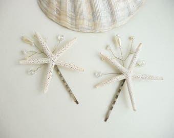 Set of 2 Starfish hair pins Beach wedding Beach hair accessory Seashell Hair accessories Mermaid hairpiece  shell bridal hair pins Headpiece