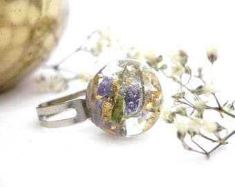 Real Flower Ring - Botanical Ring - Gold Flakes Ring - Gift For Her - Terrarium Ring - Orb Ring - Resin Ring - Real Flower Jewelry