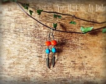 Boho feather earrings, crystal earrings, semi-precious earrings, gift for her, christmas gift, drop earrings, blue earrings