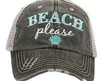 "Katydid ""Beach Please"" Trucker Hat with Monogram"