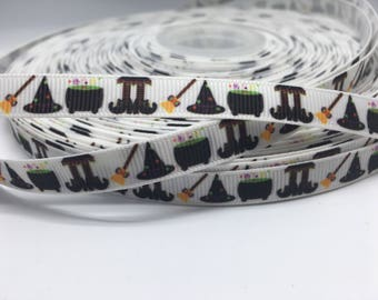 "3 yards 3/8"" Halloween Fall witch broom and more  grosgrain"