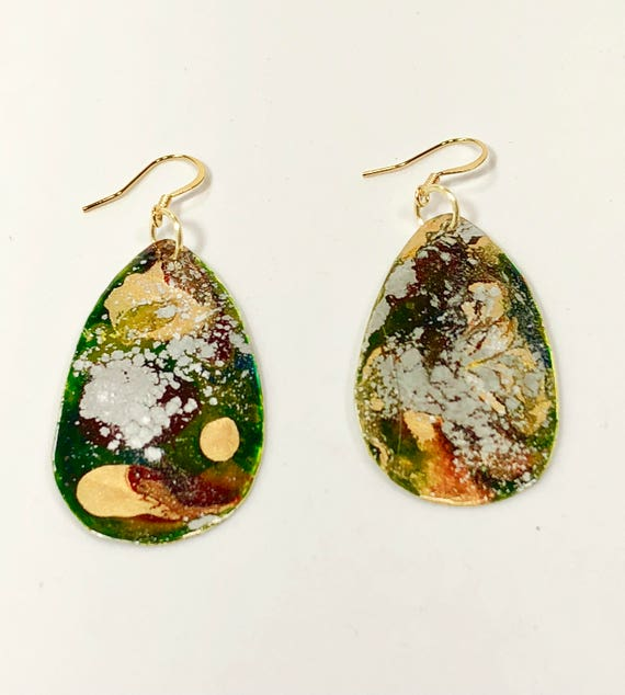 Handmade drop-shape enamel earrings with abstract designs (green/orange/red/gold/silver) with 14K gold plated ear wires