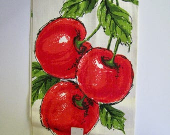 vintage linen tea towel. New Old Stock with tags. Cherries in red and green on ivory. By Parisian Prints.
