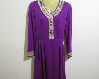 Paganne by Gene Berk dress 1960s. Purple with graphic details in green, pink, lilac. marked size 14, Modern size 10. designer dress vintage